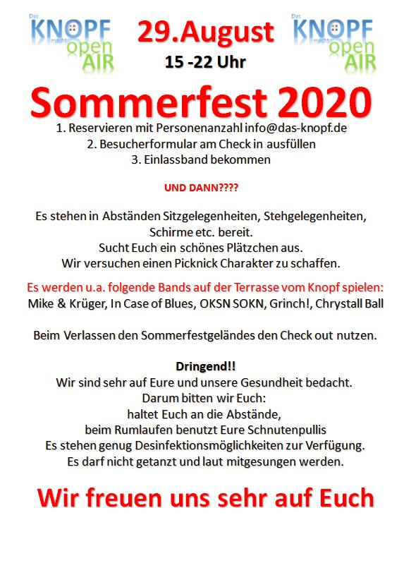 Sommerfest 2020 Flyer